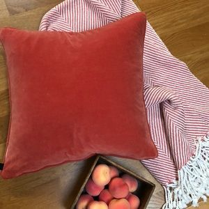 Peach Pillow Covers (2) and Matching Chevron Throw